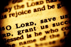 Lord, save us. Macro shot of a Bible passage (Psalm 118,25 Stock Photos