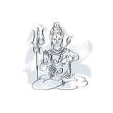 Lord Shiva black and white calligraphic drawing to Maha Shivarat Royalty Free Stock Photo