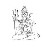 Lord Shiva black and white calligraphic drawing to Maha Shivaratri Royalty Free Stock Photography