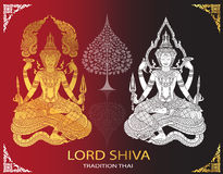 Lord Shiva and Bodhi Tree thai tradition Stock Images