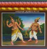 Lord Shiva cuts off Indira's head with a chakra. Stock Photo