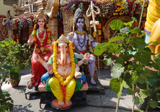 Lord shiva,goddess parvati and ganesha idols. In temple on Hanuman jayanti day on April 3,2015 in Hyderabad,India Stock Photos