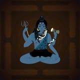 Lord Shiva Hindische Gottillustration Indischer Oberster Gott Shiva, der in der Meditation sitzt Lizenzfreie Stockfotos