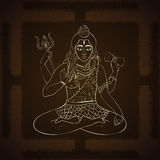 Lord Shiva. Hindu gods  illustration. Indian Supreme God Shiva sitting in meditation. Royalty Free Stock Image