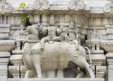 Lord Shiva and his wife Parvati on Nandi the bull. Royalty Free Stock Photo