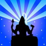 Lord Shiva - The Indian God. Illustration of the Indian God Shiva with blue rays and stars - Design for Mahashivaratri festival in February Stock Photo