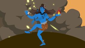 Lord Shiva Standing en un centro de una tormenta de fuego con símbolos santos libre illustration