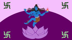 Lord Shiva Standing in Lotus Flower royalty illustrazione gratis