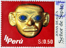 The Lord of Sipan. A stamp printed in Peru shows image of The Lord of Sipan Royalty Free Stock Images