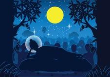 Lord van Boedha was dood onder boom, voor belangrijke dagen goed wordt gebruikt die stock illustratie