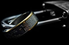 Lords Prayer Ring on a Padlock Stock Image