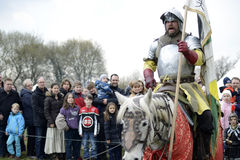 06.04.2015 Lorelay Germany - Medieval Knight games knights fighting tournament riding on horse Stock Images