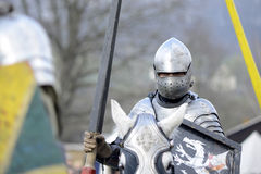06.04.2015 Lorelay Germany - Medieval Knight games knights fighting tournament riding on horse Stock Image