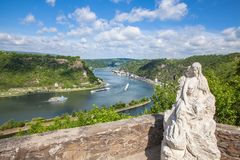 Loreley figure and Rhine valley Landscape and Sankt Goarshausen. View from the Lore Ley rock Germany Intersting Places royalty free stock photo