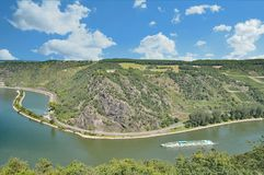 Loreley vaggar på Rhine River, Rheinland-Pfalz, Tyskland Royaltyfri Bild