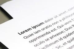 Lorem ipsum-Beispieltext Stockbild