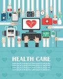 Ιατρικός υπολογιστής με το επίπεδο σχέδιο καρδιών lorem το ipsum είναι απλά κείμενο ελεύθερη απεικόνιση δικαιώματος