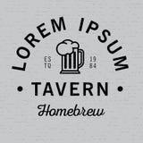 Lorem Ipsum Tavern Homebrew Poster. With glass of beer vector illustration Stock Image