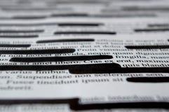 Lorem Ipsum text that has been redacted Stock Photo