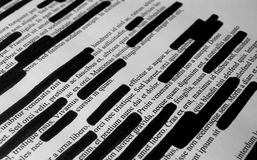 Lorem Ipsum text that has been redacted Stock Photos