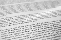 Lorem Ipsum text paragraphs. Printed page stock images
