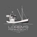 Lorem's fishing boat. Fishing boat logo badge label on grey background. Vector. Editable Stock Photos