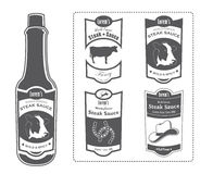 Lorem's Steak Sauce Bottle with Labels Royalty Free Stock Photos