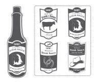 Lorems Steaksoße-Flasche mit Aufklebern Lizenzfreie Stockfotos