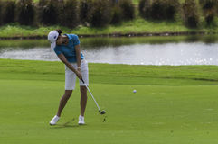 Lorena Ochoa hits iron shot Royalty Free Stock Photos