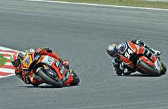 Lorenzo Baldassarri and Jonas Folger in the circuit of Catalonia Stock Photo