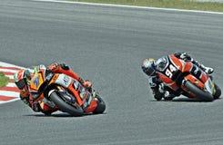 Lorenzo Baldassarri and Jonas Folger in the circuit of Catalonia Stock Photo