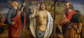 Lorenzo D Alessandro: Risen Christ with saints Peter and Paul stock image