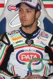 Lorenzo Zanetti - Ducati 1098R - Rennend Team PATA Royalty-vrije Stock Foto's