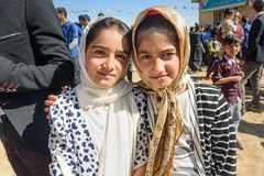 Iranian girls on wedding ceremony in the village. Lorestan Province. Iran. Lorestan Province, Iran - April 1, 2018: Iranian young girls on wedding ceremony in royalty free stock photos