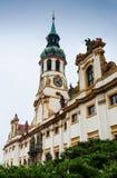 Loreta sanctuary facade with baroque tower, Prague stock images