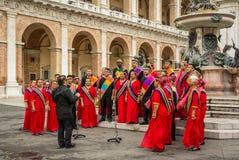 LORETO, Italië - juli 16, 2016 - Internationaal overzicht van heilige muziek in het vierkant van het Heiligdom van het Heilige Hu Royalty-vrije Stock Fotografie