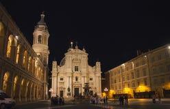Loreto by Night - Piazza della Madonna square - Ancona province royalty free stock image