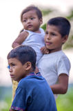 LORETO, PERU - JANUARY 02: Unidentified local kids posing for ca Stock Image