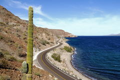 Road beside the Loreto bays in the see of baja california, mexico