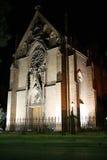 Loretto教堂在Santa Fe,新墨西哥在晚上 库存照片