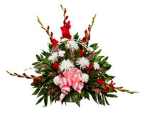 Lorful flower arrangement in basket Royalty Free Stock Photos