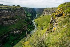 Lori Berd Fortress Canyon. And River Breathtaking Common View Point royalty free stock photography