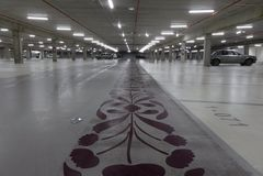 Lorient, France - February 01, 2017:Empty underground car park illuminated at night stock photography