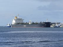 Tanker Ship under maneuvering operations Stock Photography