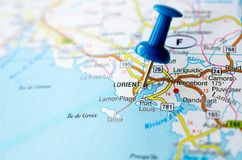 Lorient on map. With push pin Royalty Free Stock Image
