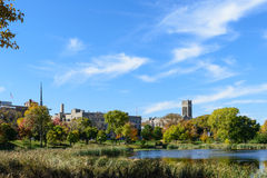 Loring Park with a View of St. Mark's Episcopal Cathedral in Minneapolis. This is Loring Park with a view of the lake. It also shows the tower of St. Mark's Stock Photography