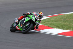 Loris Baz #76 on Kawasaki ZX-10R Kawasaki Racing Team Superbike WSBK royalty free stock images