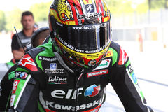 Loris Baz #76 on Kawasaki ZX-10R Kawasaki Racing Team Superbike WSBK royalty free stock photography