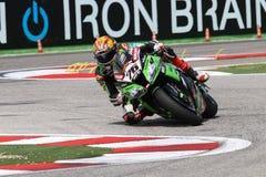Loris Baz #76 su Kawasaki ZX-10R Kawasaki Racing Team Superbike WSBK Immagine Stock