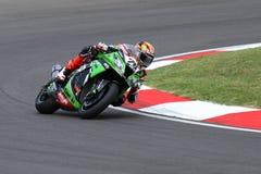 Loris Baz #76 su Kawasaki ZX-10R Kawasaki Racing Team Superbike WSBK Immagini Stock Libere da Diritti